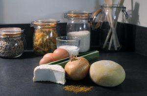 Restaurant Petit Jardin recette tarte aux poireaux chèvre et curry